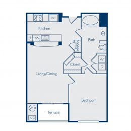 One Bedroom Floorplan A1A