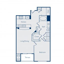 One Bedroom Floorplan A1C