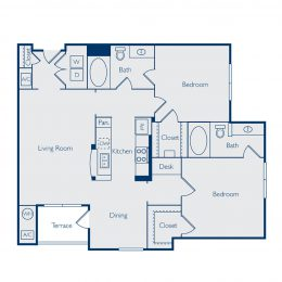 Two Bedroom Floorplan B2A